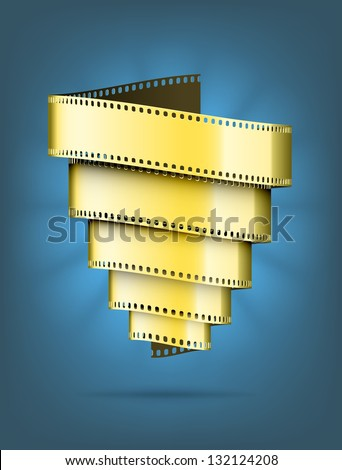 Abstract movie background. A tornado made of gold film. EPS10 vector.