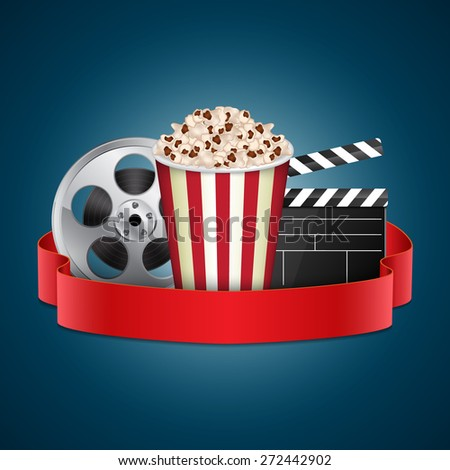 Abstract movie template. Cinema concept with popcorn, reel and film clapper. EPS10 vector