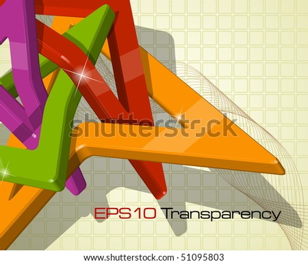 Abstract multi-colour 3d shapes - vector illustration - stock vector
