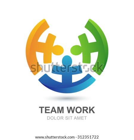 Abstract multicolor people silhouette in circle shape. Vector looped creative logo design template. Concept for social network, team work, partnership, friends, business, motivation, playing kids. - stock vector