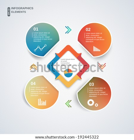 Abstract multicolor template for business and infographic - stock vector