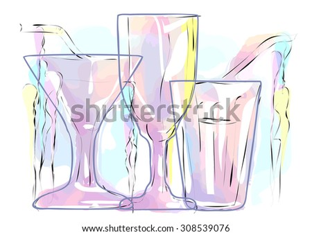abstract multicolored cocktail  - stock vector
