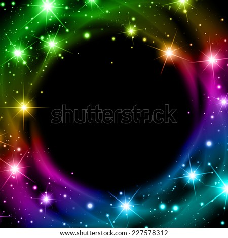 Abstract Multicolored Night Bright Star Background With Copyspace - stock vector