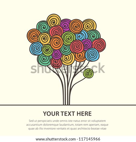 Abstract multicolored stylized tree. Vector illustration - stock vector