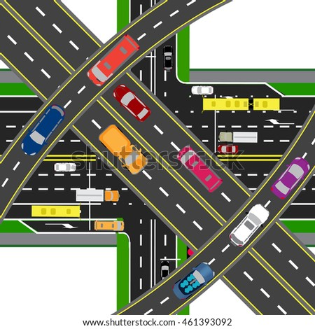 Abstract, multilevel transport hub. The intersections of various roads. Transport. Vector illustration