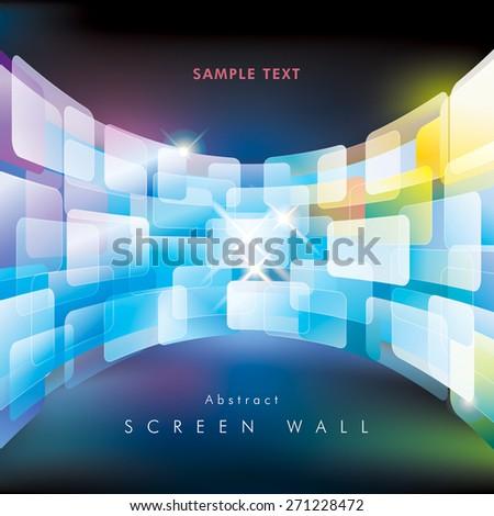 Abstract multimedia virtual screen wall. - stock vector