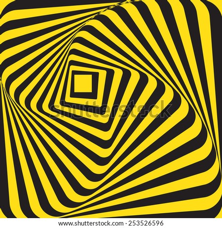 abstract multiple curve yellow black rectangle - stock vector
