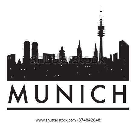 Abstract Munich Skyline Various Landmarks Vector Stock