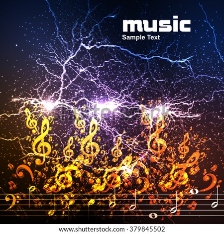 Abstract music background illustration easy all editable - stock vector