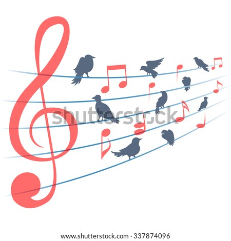 Abstract music background music notes and birds. Musical decoration, sound and clef, melody and song, vector illustration - stock vector