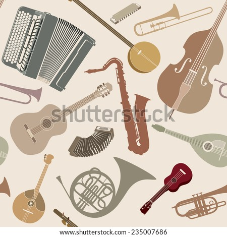 Abstract Music Background. Seamless texture with musical instruments. Musical tiled pattern. - stock vector