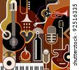 Abstract Music Background - vector illustration. Collage with musical instruments. - stock