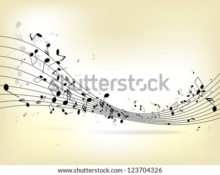 Abstract music background with notes - stock vector