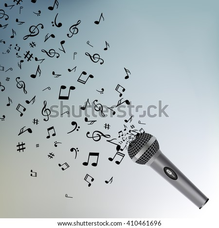Abstract music background with notes and microphone. Musical backdrop.  - stock vector