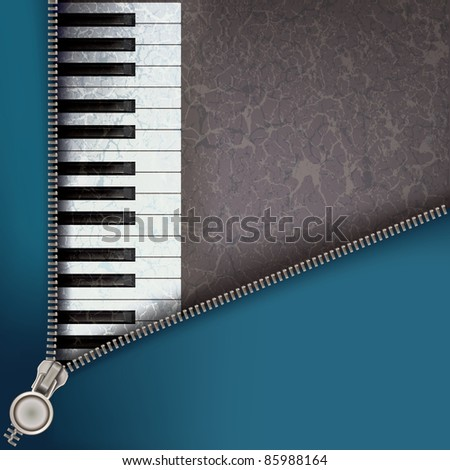 abstract music background with piano and open zipper - stock vector