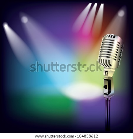 abstract music background with retro microphone on stage - stock vector
