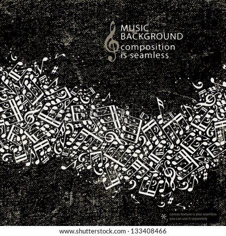 Abstract music background with seamless composition, old style with grunge texture, vector design template. - stock vector