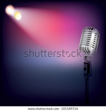 abstract music background with spotlights and retro microphone - stock vector
