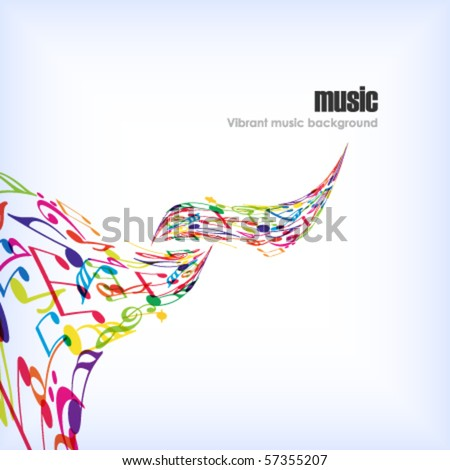 Abstract music background with tunes. - stock vector