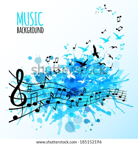 Abstract music background with various music notes, vector illustration