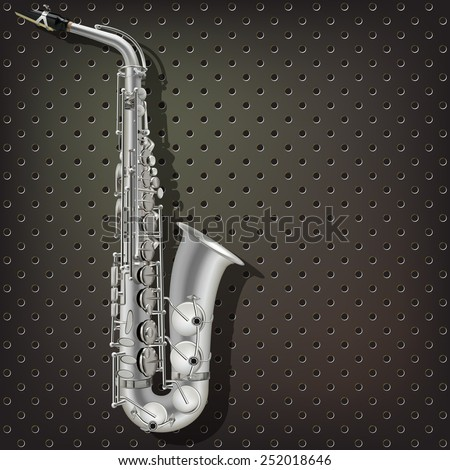 abstract music dark gray background with silver saxophone - stock vector