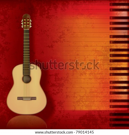 abstract music grunge background acoustic guitar and piano - stock vector