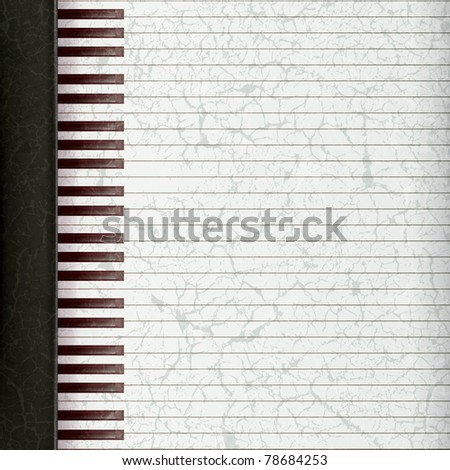 abstract music grunge background with piano keys - stock vector
