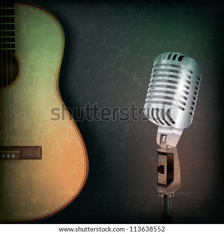 abstract music grunge background with retro microphone and guitar - stock vector