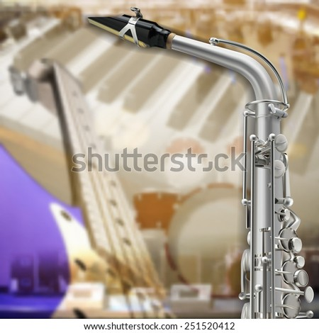 abstract music grunge background with saxophone and musical instruments