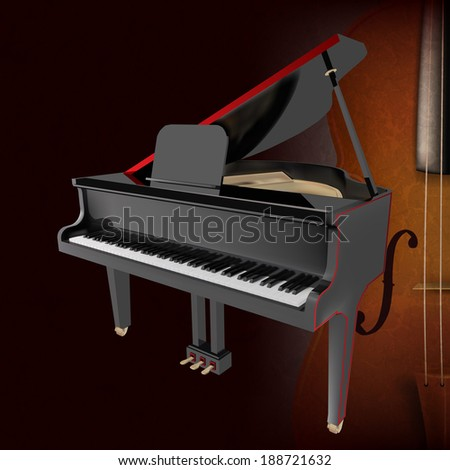 abstract music grunge dark background with piano and violin