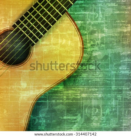 abstract music grunge vintage background acoustic guitar vector illustration - stock vector