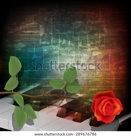 abstract music grunge vintage background with piano keys and rose - stock vector