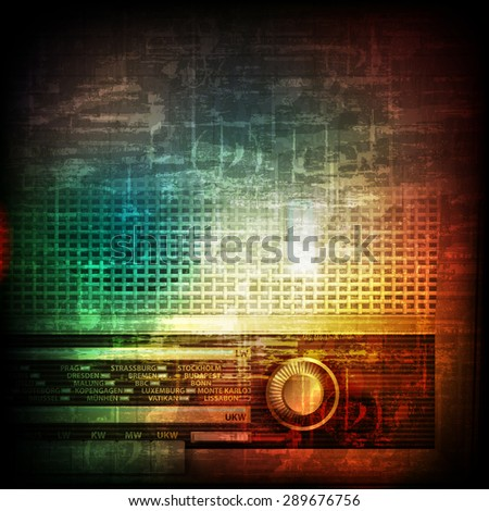abstract music grunge vintage background with retro radio - stock vector