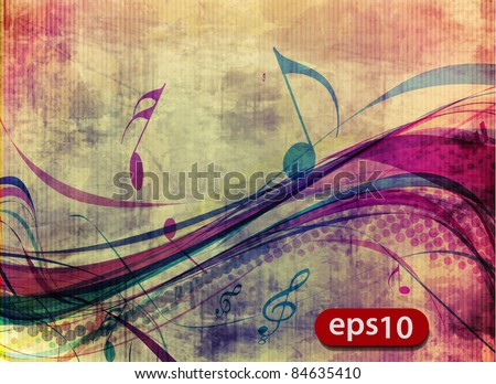 abstract music notes design for music poster use, vector illustration - stock vector