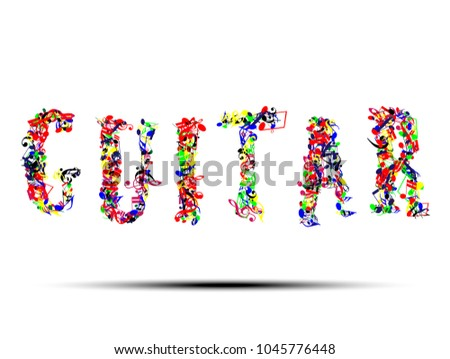 Abstract Music Notes On Music Text Stock Vector 1045776448