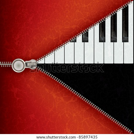 abstract music red background with piano and open zipper - stock vector