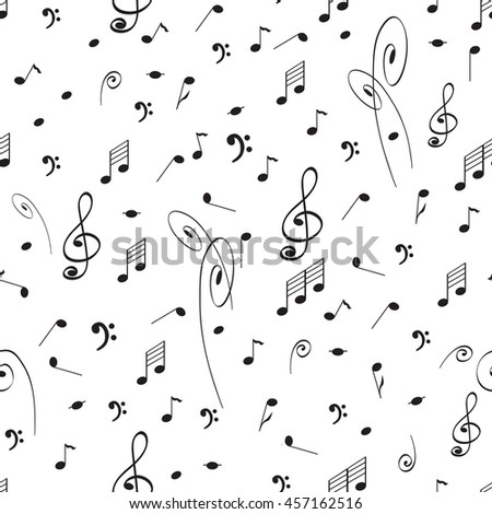 Abstract music seamless pattern background with black notes and treble clef. Cute music elements on the white for package design or wallpaper.