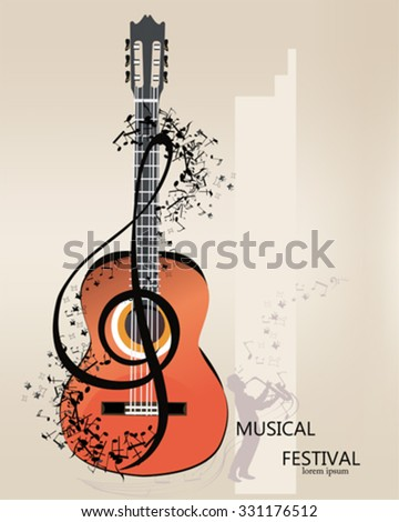 Abstract Musical Background Fashion Girl Hat Stock Vector ...