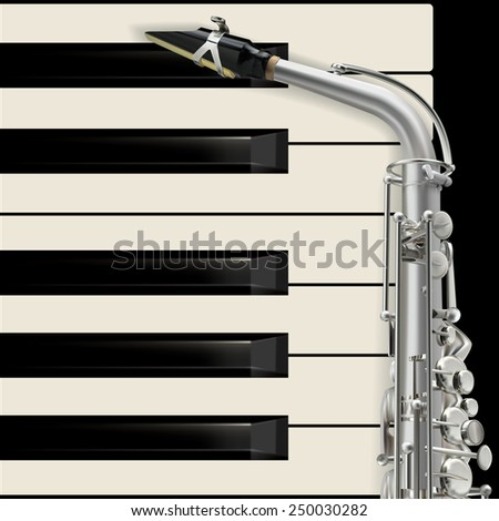 abstract musical background with saxophone and piano - stock vector