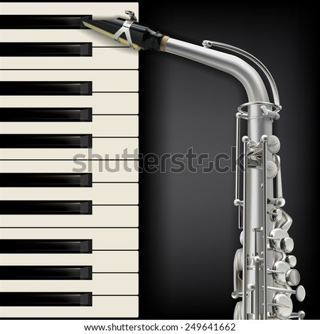 abstract musical black background with saxophone and piano - stock vector