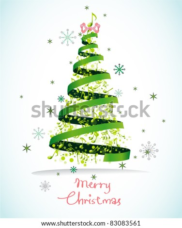 Abstract Musical Christmas Tree Background with bright flying up bubble and stars. - stock vector