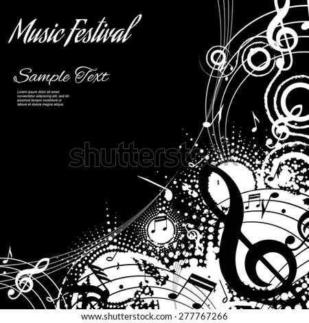 abstract musical composition on black background with space for text, vector illustration - stock vector