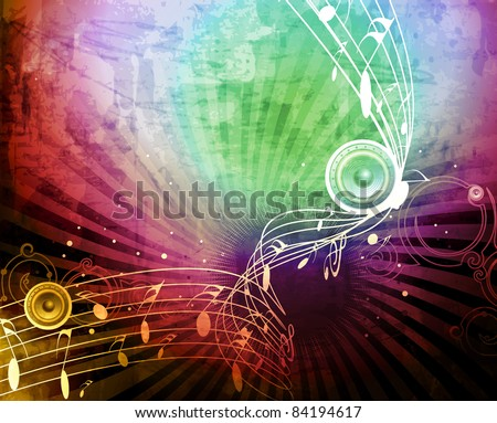 abstract musical notes -grunge vector illustration - stock vector