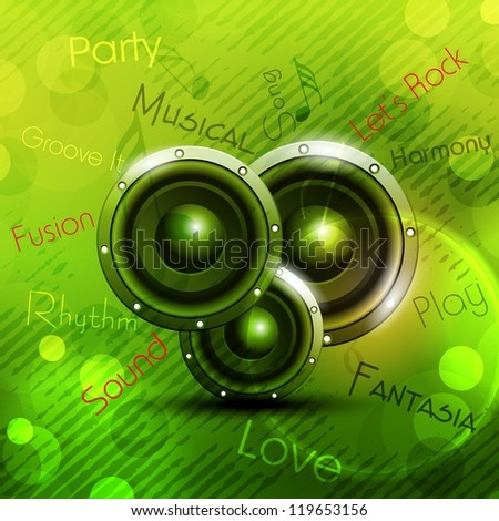 Abstract musical party background with speakers. EPS 10. - stock vector