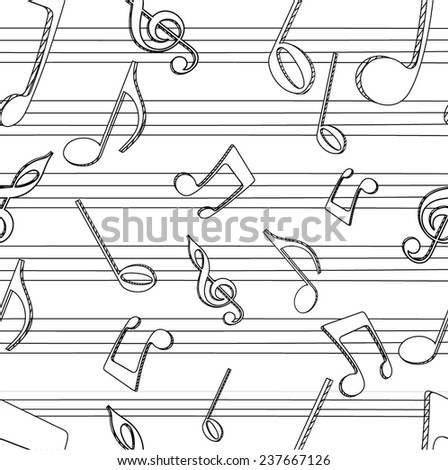 Abstract musical seamless pattern. - stock vector