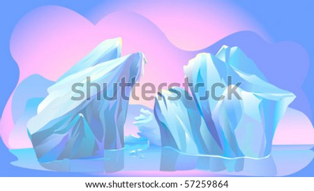 Abstract  Mysterious Blue Iceberg - stock vector