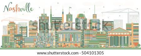 Modern Architecture Nashville abstract nashville skyline color buildings vector stock vector