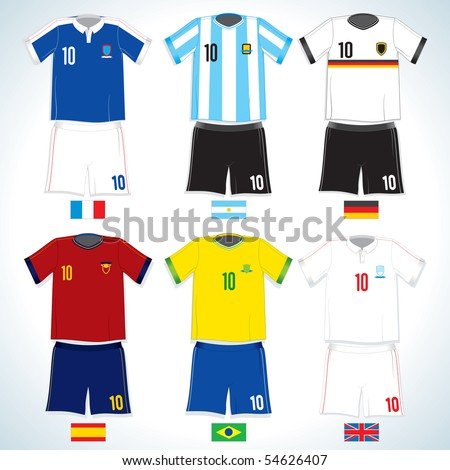 Abstract nationals football uniform:Brazil, German,  Argentina, Spain, England, France-vector image with easy editable colors-to see more similar images, please visit my Gallery - stock vector