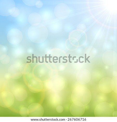 Abstract natural background with bokeh light and sun beams, illustration. - stock vector