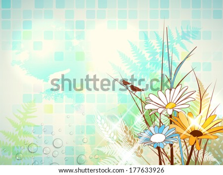 Abstract natural collage with copy space on the left. - stock vector
